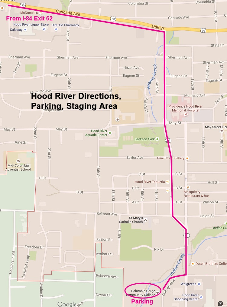 Hood River directions, parking, staging