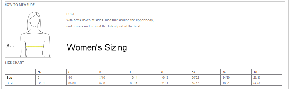 Women's Micropique Size Chart